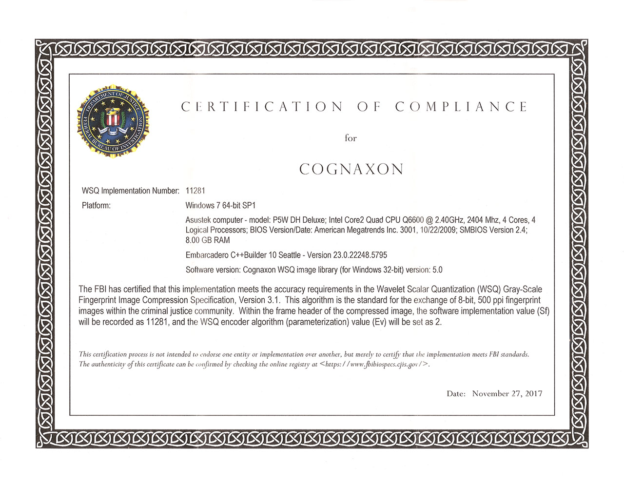 Cognaxon - Downloads - WSQ Image Library